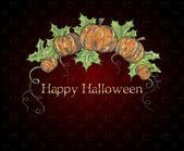 halloween tök sötét piros háttér kártya. vektoros illusztráció