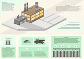Detail infographic of factory production. vector illustration