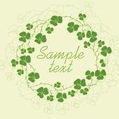 Květinové rám s jetelem, zelené listy. vektorové ilustrace
