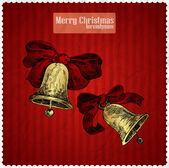 Gelbe Weihnachtsglocken auf rotem Hintergrund. Vektorillustration