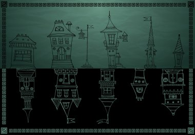 Vintage houses vector on dark background stock vector