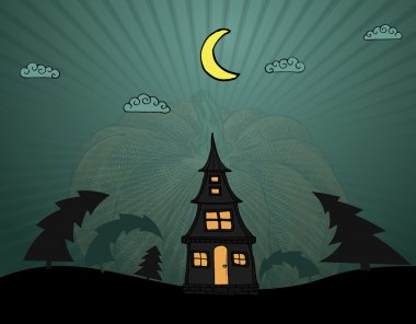 Lonely vector house in dark wood for Halloween stock vector