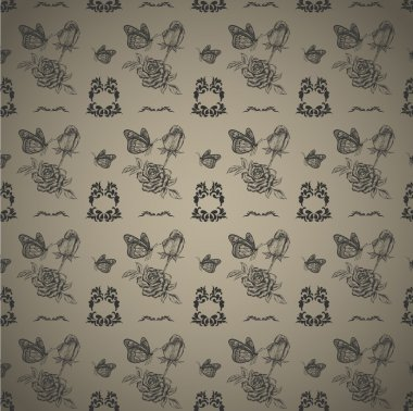 Seamless pattern roses and butterflies. Vector illustration stock vector