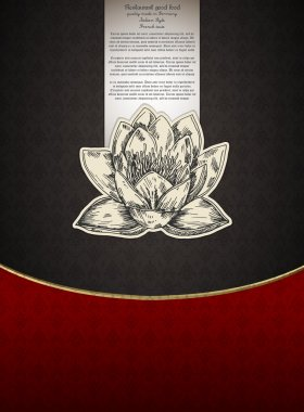 Banner for restaueant menu with lotus flower. Vector illustration stock vector