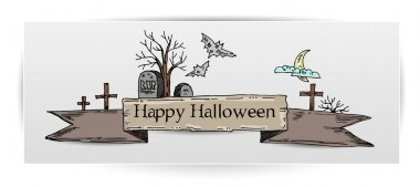 Halloween illustration with tombs. Vector