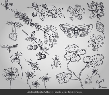 Abstract floral art, flowers, plants, insects items for decoration on gray background stock vector