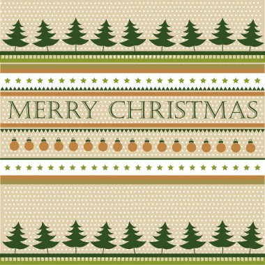 Retro christmas background with fir trees. vector