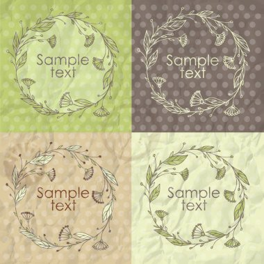 Set of floral frames. Vector illustration stock vector