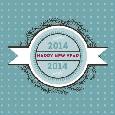 Happy new 2014 year. Vector card