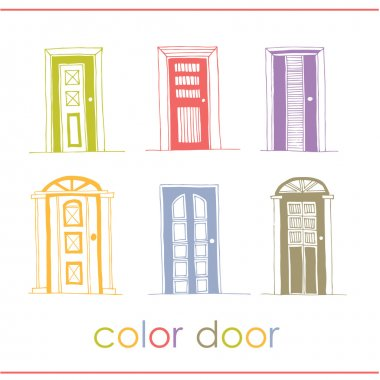 Set of color vector doors. isolated on white stock vector