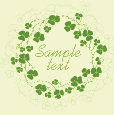 Floral frame with green clover leaves. Vector illustration stock vector