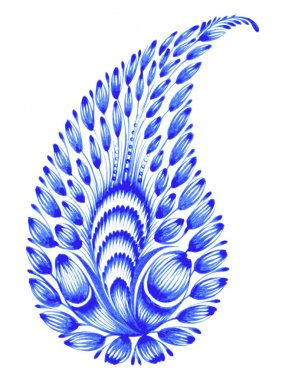 Blue, flower composition, hand drawn, illustration in Ukrainian folk style clip art vector