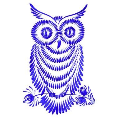 floral decorative ornament owl