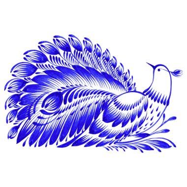 Floral decorative ornament peacock