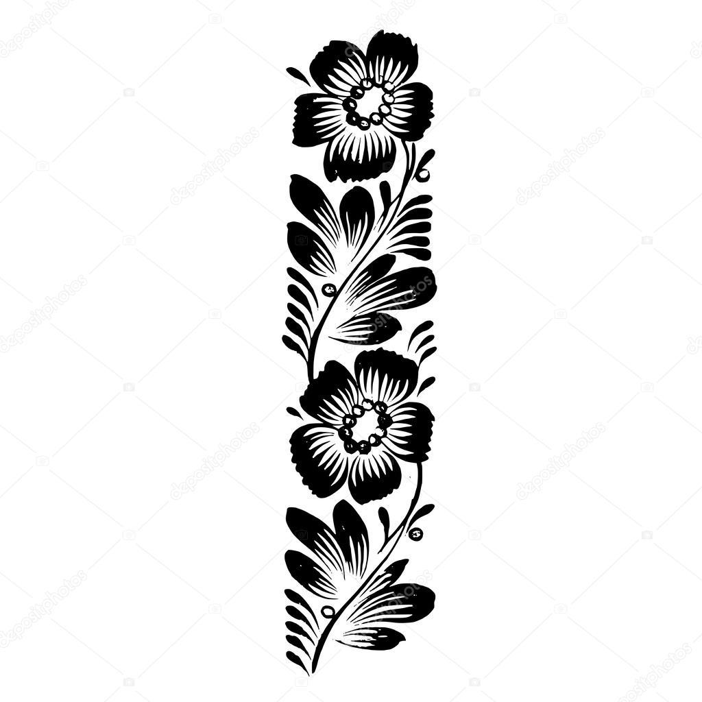 decorative silhouette of floral decoration