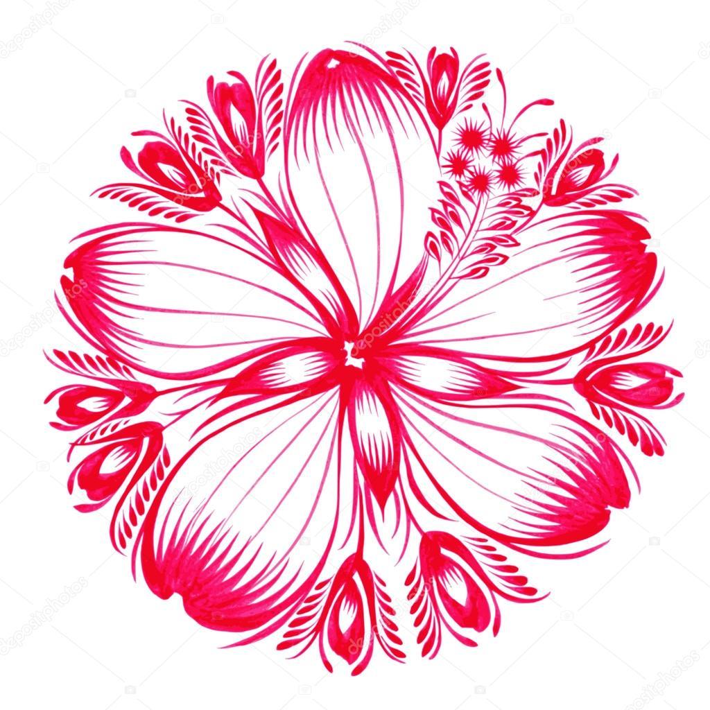 floral decorative ornament red hibiscus
