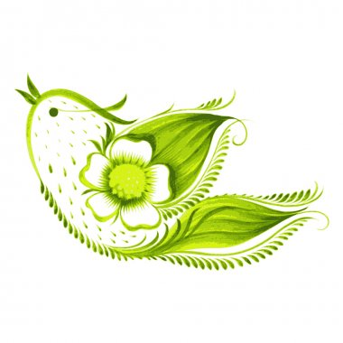 green bird of  with flowers and leaves tea