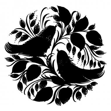 decorative silhouette circle birds of paradise