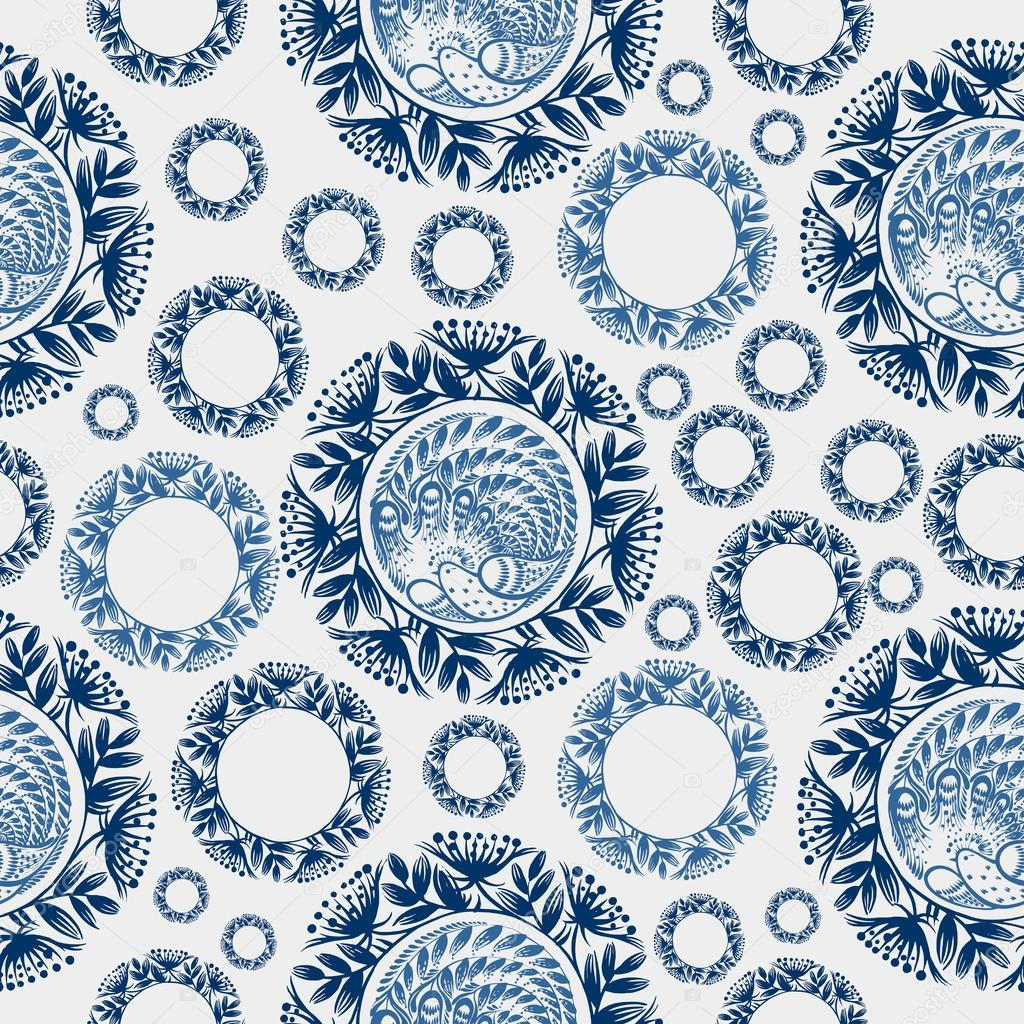 Seamless floral pattern snowflake