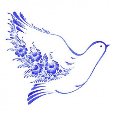 floral decorative ornament dove peace