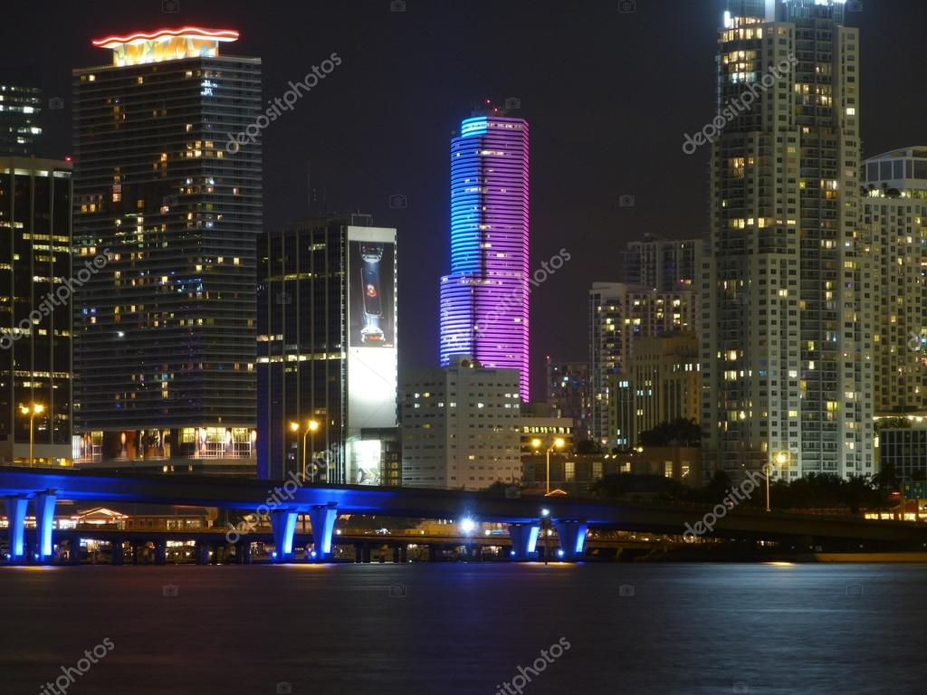 Miami Downtown at night – Stock