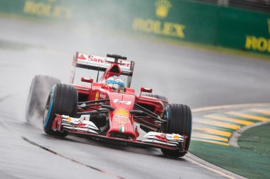 Ferrari F1 team in action  in the wet at the Australian Grand Pr