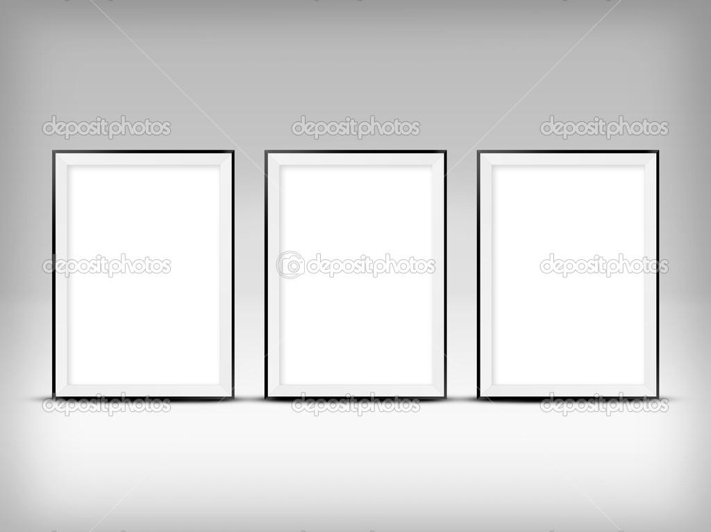 cartel de publicidad vertical en blanco. marco vacío en pared — Foto ...