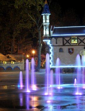 Colored water fountain at night. Ukraine. Kharkov. Gorky Park.