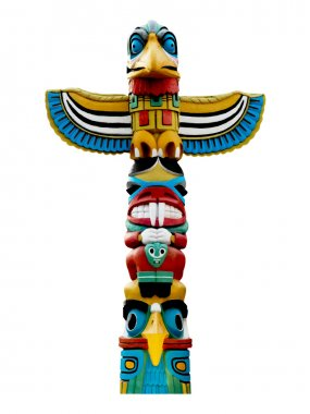 Colorful totem pole.