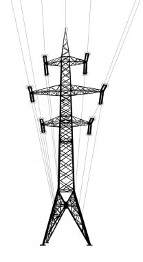 Power transmission tower with wires.