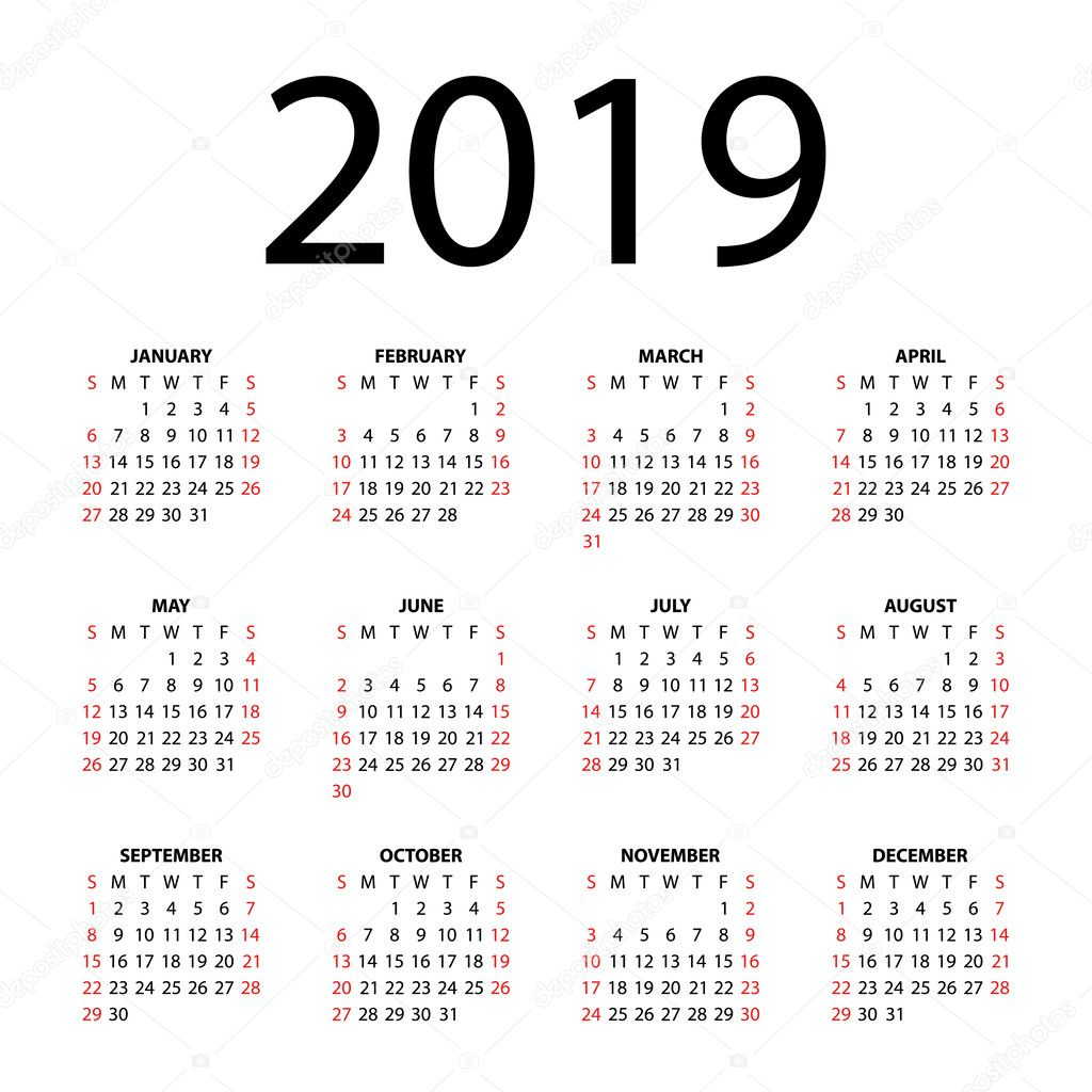 Calendar for 2019 on white background. — Stock Vector ...
