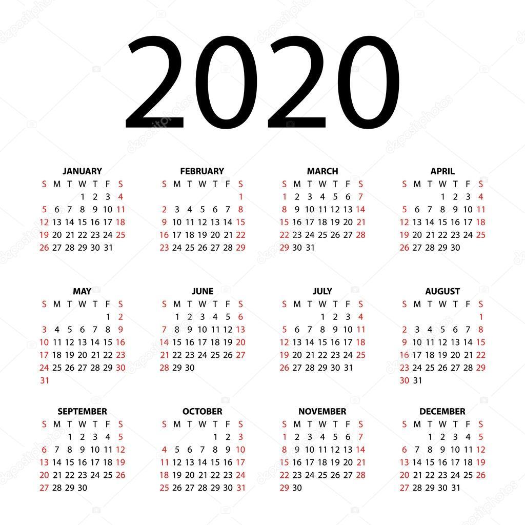 Calendar-365.Com 2020 Calendar for 2020 on white background. — Stock Vector