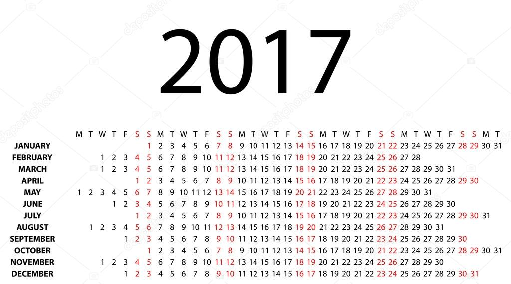 Horizontal calendar for 2017 on white. — Stock Vector ...