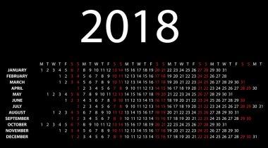 Horizontal calendar for 2018 on black.