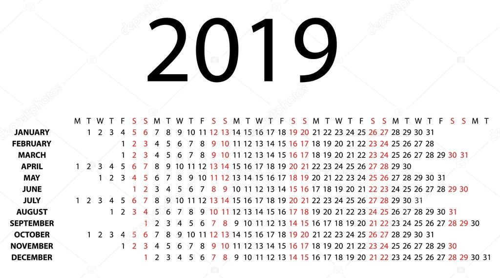 naptár 2019 heti 2019 fehér vízszintes naptár — Stock Vektor © aleksdemeshko #47625929 naptár 2019 heti