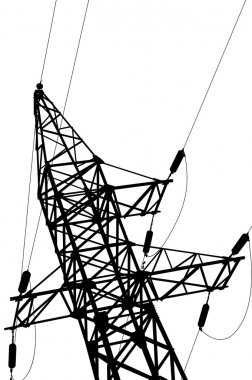 High voltage power lines and pylon.