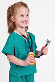 Photo Young caucasian girl playing doctor