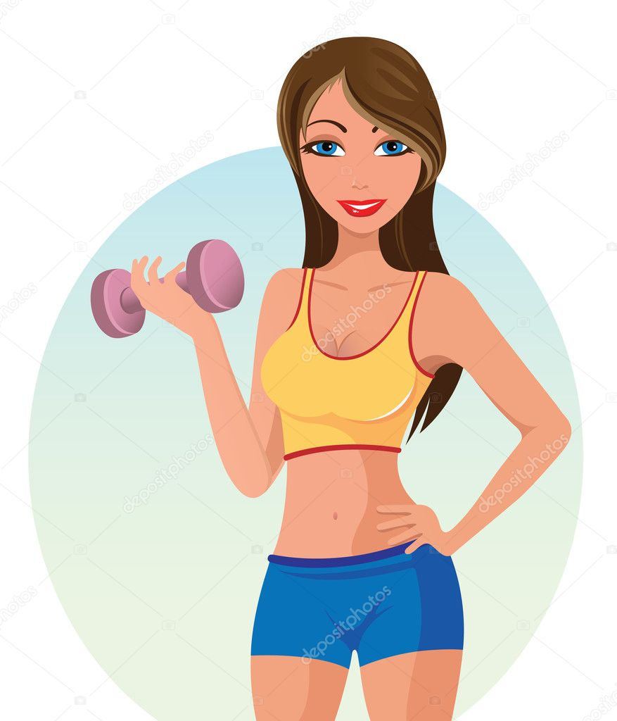 Cartoon Characters Exercising : Girl exercising — stock vector giorgos