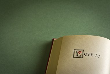 Vintage style Love is words in the blank book. With space for your text what love is.
