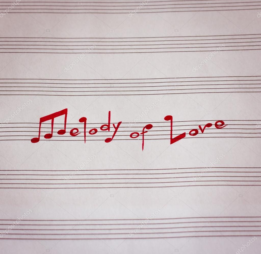 Words Melody Of Love In Shape Of Music Notes In The Music Note Book Photo By Tomania