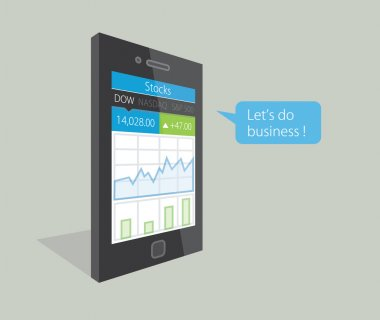 Vector illustration of a mobile phone with stock market business diagrams on the display, saying Let's do business !
