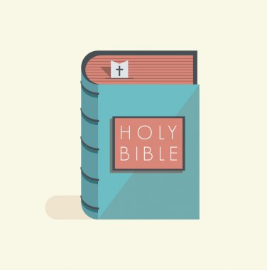 Holy Bible with bookmark and christian cross.