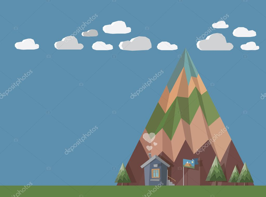 Little house at the end of the world with chimney smoke in shape of hearts in front of big mountain with trees, green and clouds. All in stylish 3D shape with huge copy space for your text.