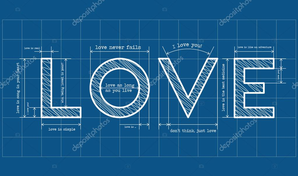 Abstract love blueprint with love quotes clipart vector