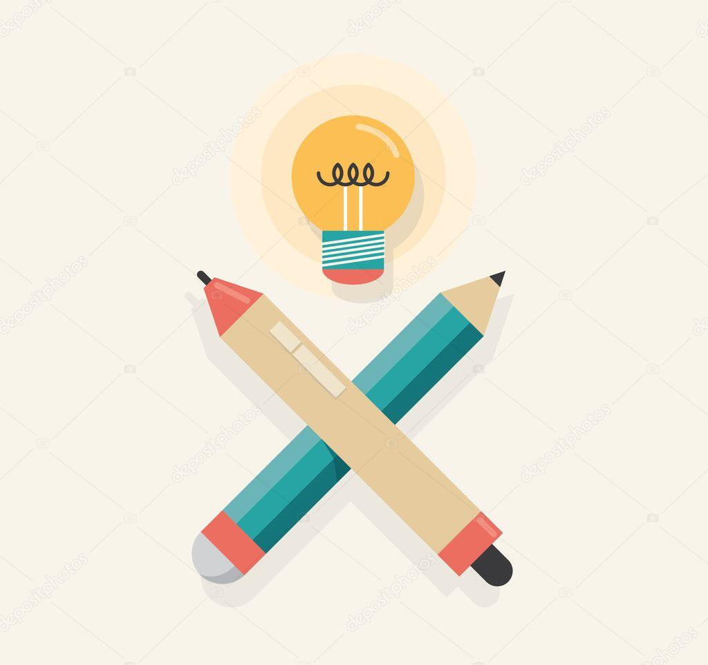 Grafik Tablettstift mit Bleistift und Blitz-Lampe (wie Totenkopf ...