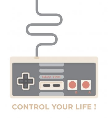 Control your life! Vintage game joystick isolated on white. Motivation concept.