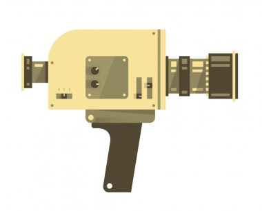 Vintage video camera isolated on white. Vector illustration.