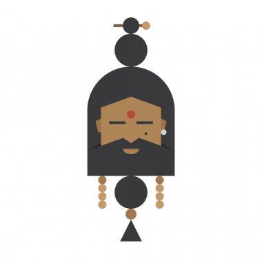 Vector illustration of religious indian yogi man with beard in meditation