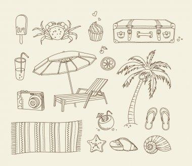 Beach doodle icons