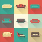Vektorové ikony pohovka